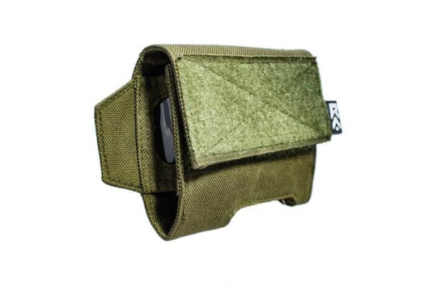 Side view of green ExFog helmet pouch