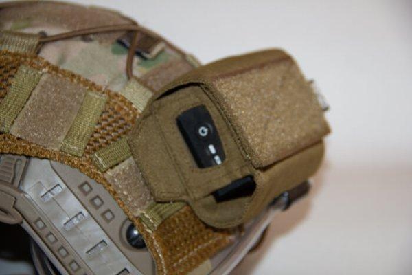 Closeup view of ExFog antifog system on helmet